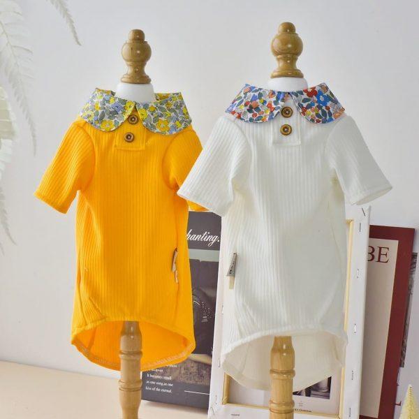 Elegant Sphynx Cat T-shirts | Floral collar literary style T-shirts