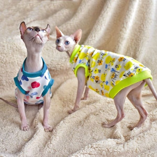 Sphynx cat-tank top halter breathable,Heart flower vest