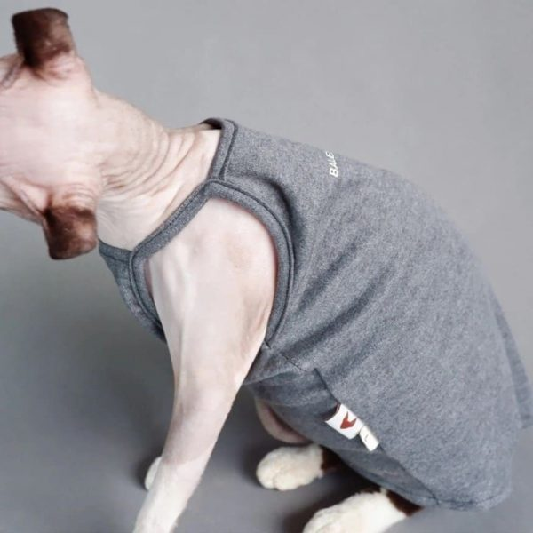 Sphynx cat-tank top halter,Classic stain-resistant gray