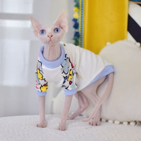 Sphynx Hairless Cat T-Shirts-Crayon Doodle Little Flower