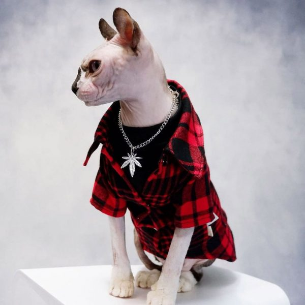 Sphynx Cat Coat & Jacket for Hairless Cat   Cool Plaid jacket suit red