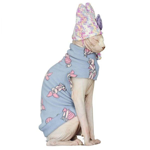 Cute Clothes For Sphynx | Cat Clothes-Pink Polar Fleece-Piglet