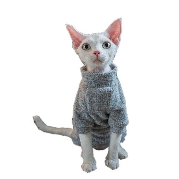 Cat Wearing Sweater | Cat Sweater, Ugly Cat Sweater-Grey Turtleneck