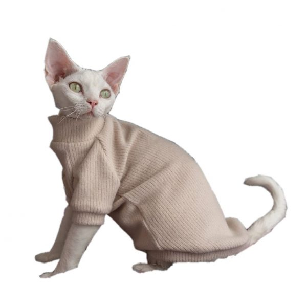 Hairless Cat With Sweater | Cat Sweater, Ugly Cat Sweater-Turtleneck