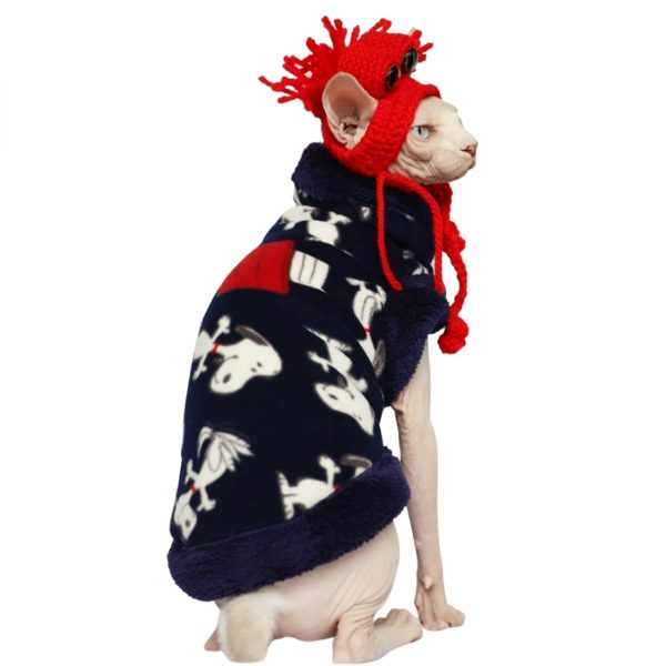 Sphynx cat winter coat-Composite lamb wool-Snoopy