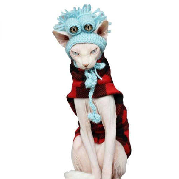 Hairless Cat In Winter Coat | Cat Clothes-Retro color-Polar fleece