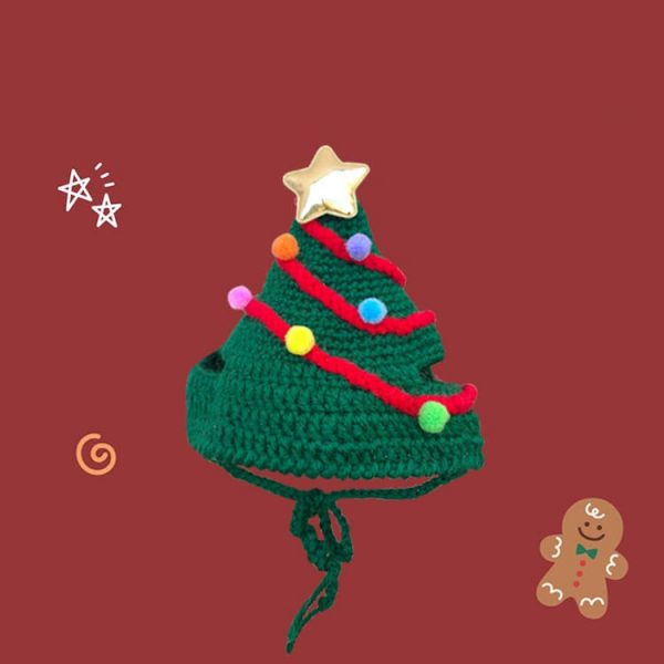 Cat With Christmas Hat Hand-knitted Hat, Lighting Santa Hat