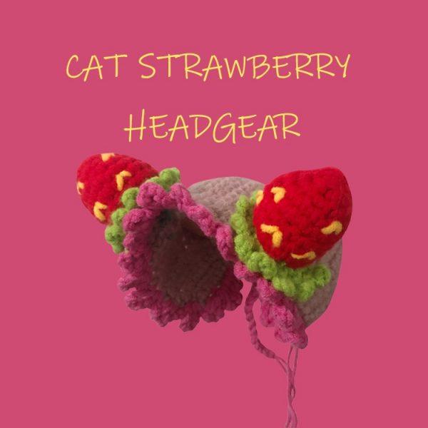 Cat Cute Woolen Hat | Hand-knitted Woolen hat, Cat Strawberry Headgear
