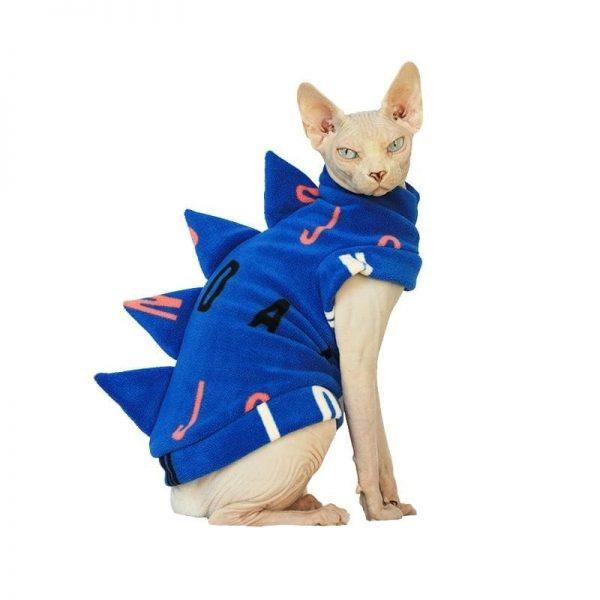 Cat In Dinosaur Costumes Cat Apparel, Cat Winter Coat, Polar Fleece