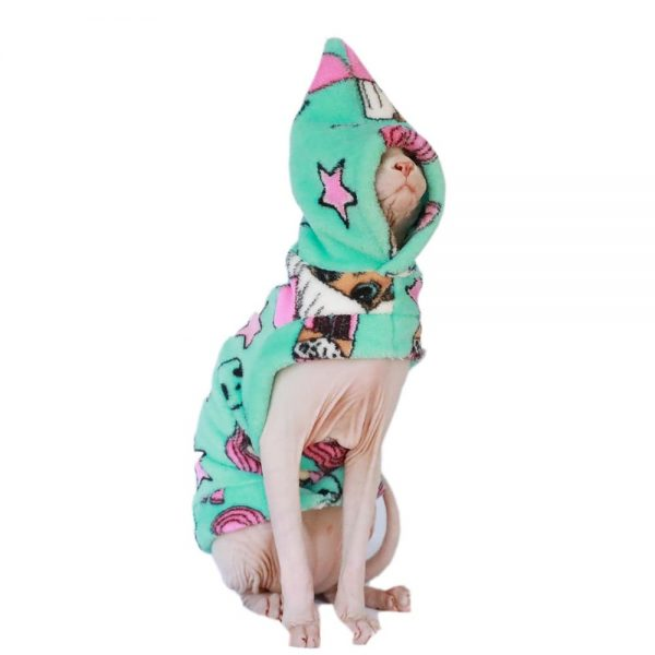 Cat with Winter Outfits | Cat Winter Coat, Sphynx Cat-Coral Fleece