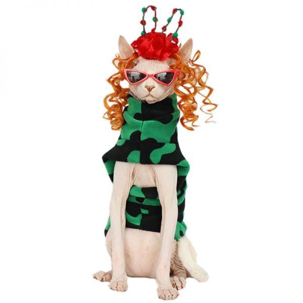 Christma clothes for sphynx | Cat Clothes-Green Black Polar Fleece
