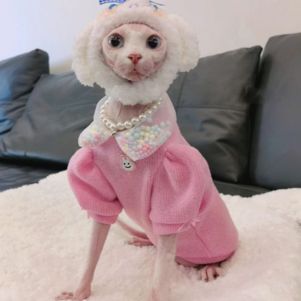 Pink Winter Coat for Cats Cat Apparel, Cat in Clothes, Puff Sleeve