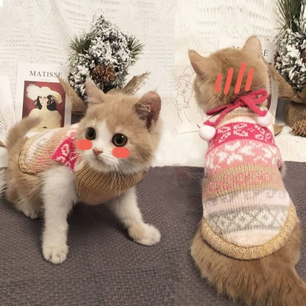 Cat Christmas Snow Sweater|Cat Christmas Outfit,Cat Christmas Costume