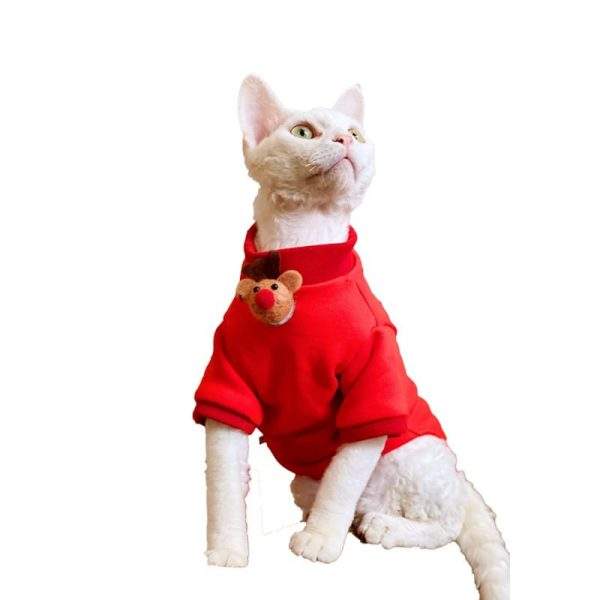 Cat with Christmas Outfits | Red Sweatshirt with Elk and Bells
