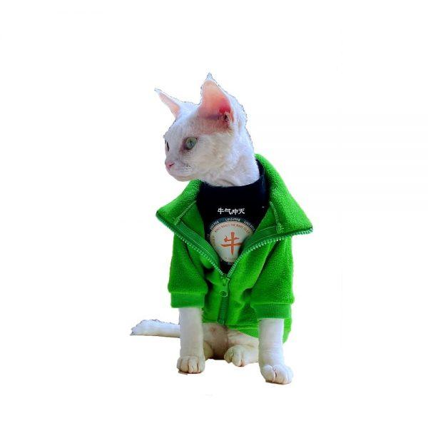 Hairless Cat with Winter Coat Sphynx Cat Warm and fleece cardigan Coat